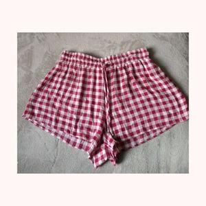 Pink plaid shorts